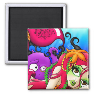 The Lonely Mermaid 2 Inch Square Magnet