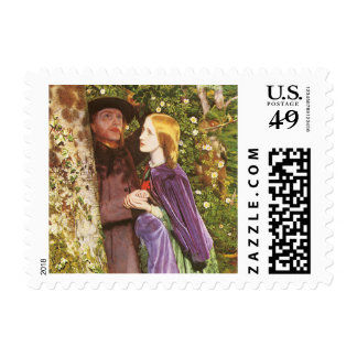The Long Engagement, Arthur Hughes, Victorian Art Postage Stamp