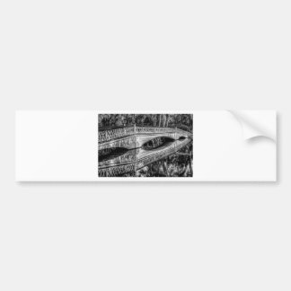 The Long White Bridge (b&w).jpg Car Bumper Sticker