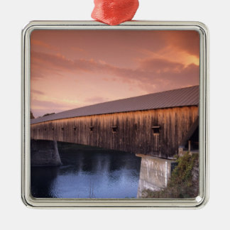 The longest covered bridge in the United States Metal Ornament