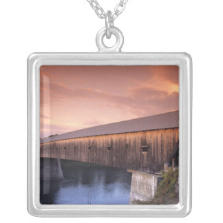 The longest covered bridge in the United States Silver Plated Necklace
