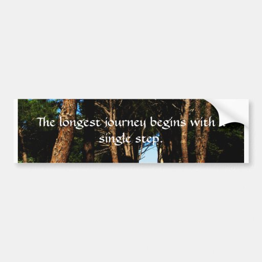The longest journey begins with a single step bumper sticker