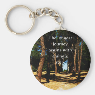 The longest journey begins with a single step keychain
