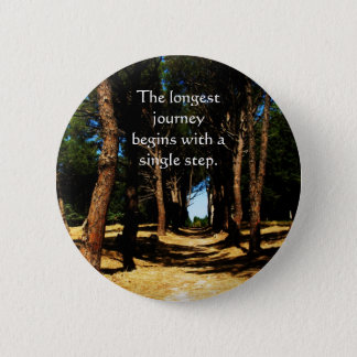 The longest journey begins with a single step pinback button