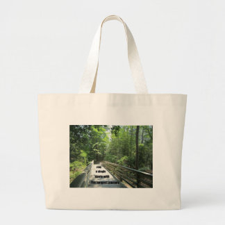 The longest journey starts with a single step. large tote bag