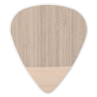 The Look of  Bamboo Border Wood Grain in Almond White Delrin Guitar Pick
