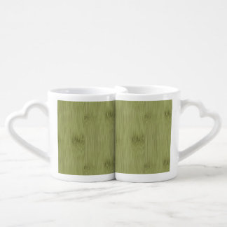 The Look of Bamboo in Olive Moss Green Wood Grain Coffee Mug Set
