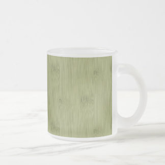The Look of Bamboo in Olive Moss Green Wood Grain Frosted Glass Coffee Mug