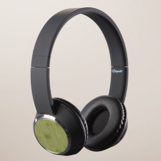 The Look of Bamboo in Olive Moss Green Wood Grain Headphones