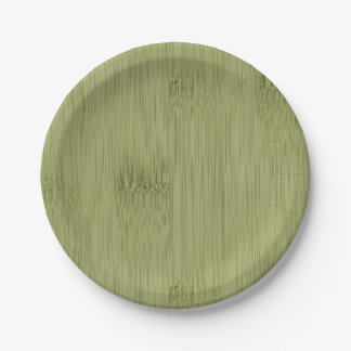 The Look of Bamboo in Olive Moss Green Wood Grain Paper Plate