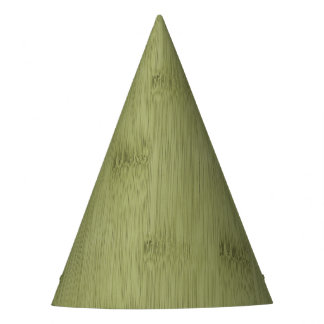 The Look of Bamboo in Olive Moss Green Wood Grain Party Hat