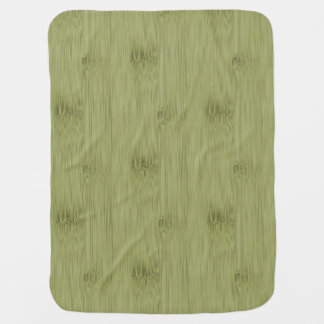 The Look of Bamboo in Olive Moss Green Wood Grain Stroller Blanket