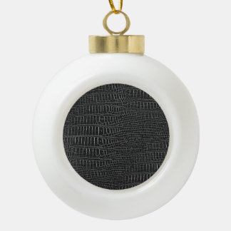 The Look of Black Realistic Alligator Skin Ceramic Ball Christmas Ornament