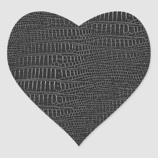 The Look of Black Realistic Alligator Skin Heart Sticker
