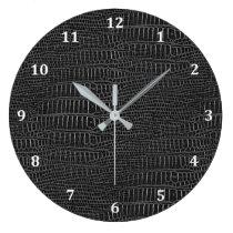 The Look of Black Realistic Alligator Skin Large Clock