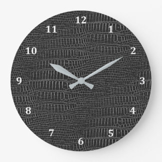 The Look of Black Realistic Alligator Skin Large Clock