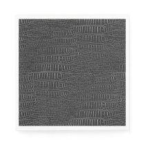 The Look of Black Realistic Alligator Skin Paper Napkin