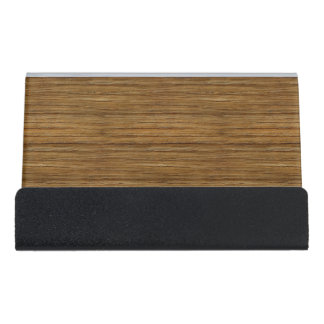 The Look of Driftwood Oak Wood Grain Texture Desk Business Card Holder