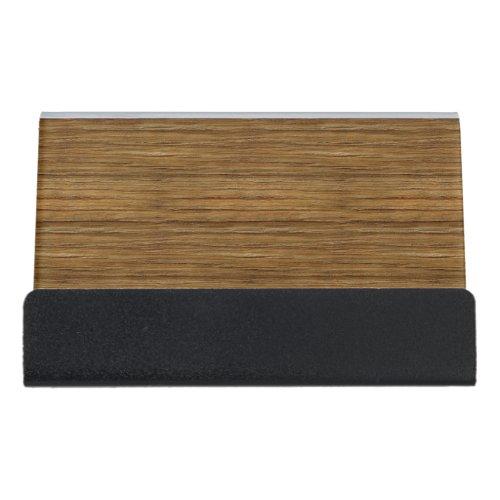 The Look of Driftwood Oak Wood Grain Texture Desk Business Card Holder