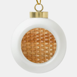 The Look of Lacquer Wicker Basketweave Texture Ceramic Ball Christmas Ornament