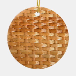 The Look of Lacquer Wicker Basketweave Texture Ceramic Ornament