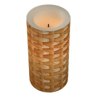 The Look of Lacquer Wicker Basketweave Texture Flameless Candle