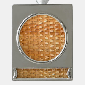 The Look of Lacquer Wicker Basketweave Texture Silver Plated Banner Ornament