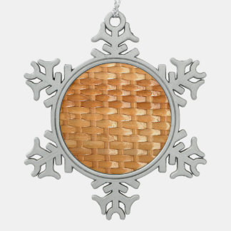 The Look of Lacquer Wicker Basketweave Texture Snowflake Pewter Christmas Ornament