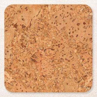 The Look of Macadamia Cork Burl Wood Grain Square Paper Coaster