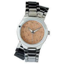 The Look of Macadamia Cork Burl Wood Grain Wristwatch