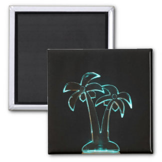 The Look of Neon Lit Up Tropical Palm Trees 2 Inch Square Magnet