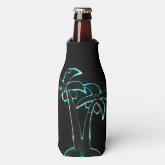The Look of Neon Lit Up Tropical Palm Trees Bottle Cooler