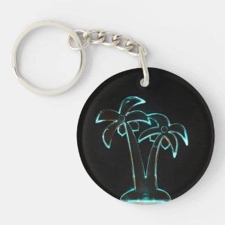 The Look of Neon Lit Up Tropical Palm Trees Keychain