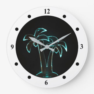 The Look of Neon Lit Up Tropical Palm Trees Large Clock