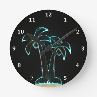 The Look of Neon Lit Up Tropical Palm Trees Round Clock