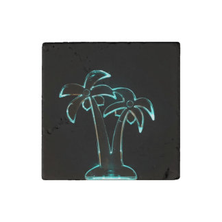 The Look of Neon Lit Up Tropical Palm Trees Stone Magnet