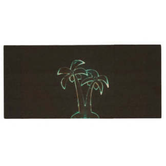 The Look of Neon Lit Up Tropical Palm Trees Wood Flash Drive