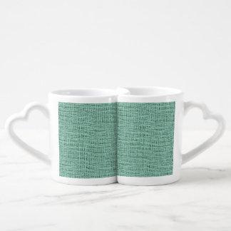 The Look of Seafoam Blue Gauze Weave Texture Coffee Mug Set