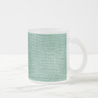The Look of Seafoam Blue Gauze Weave Texture Frosted Glass Coffee Mug