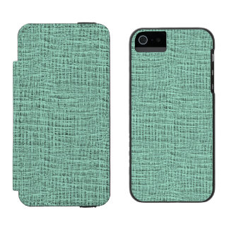 The Look of Seafoam Blue Gauze Weave Texture iPhone SE/5/5s Wallet Case