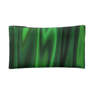 The Look of Smooth Green Satin Fabric in Folds Cosmetic Bag