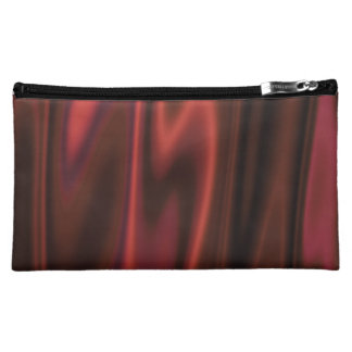 The Look of Smooth Red Satin Fabric in Folds Cosmetic Bag