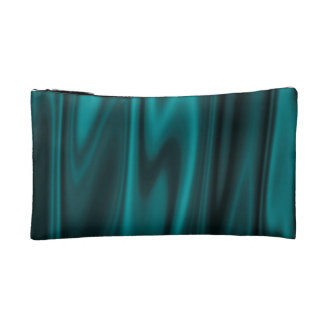 The Look of Smooth Teal Satin Fabric in Folds Cosmetic Bag