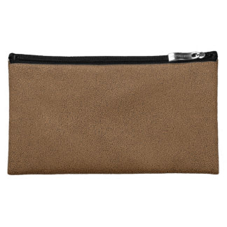 The look of Snuggly Coffee Brown Suede Texture Cosmetic Bag