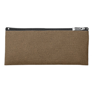 The look of Snuggly Coffee Brown Suede Texture Pencil Case