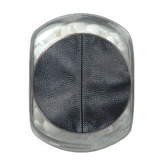 The Look of Soft Stitched Black Leather Grain Jelly Belly Candy Jar