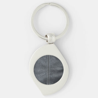 The Look of Soft Stitched Black Leather Grain Keychain