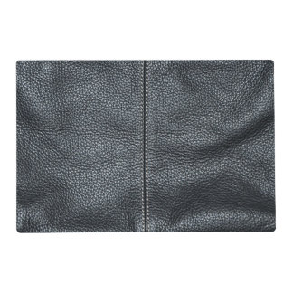 The Look of Soft Stitched Black Leather Grain Placemat