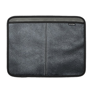 The Look of Soft Stitched Black Leather Grain Sleeves For MacBook Air
