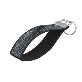 The Look of Soft Stitched Black Leather Grain Wrist Keychain
